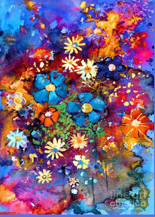 Abstract Floral Art Greeting Card featuring the painting Floral Dance Fantasy by Svetlana Novikova