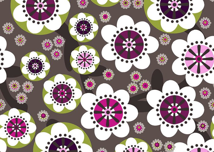 Posters Greeting Card featuring the digital art Floral Grunge by Lisa Noneman