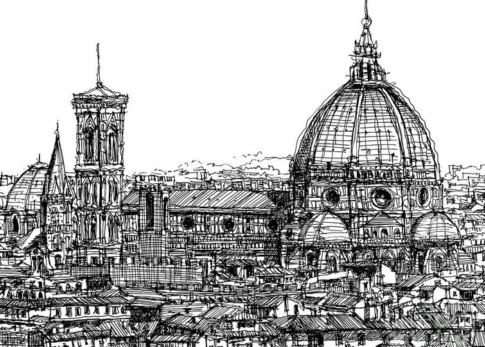 Florence Greeting Card featuring the drawing Florence Duomo In Ink by Adendorff Design