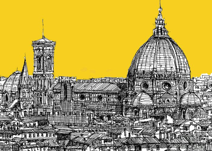 Florence Greeting Card featuring the drawing Florence Duomo by Adendorff Design