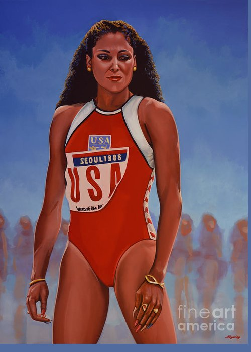 Florence Griffith Greeting Card featuring the painting Florence Griffith - Joyner by Paul Meijering