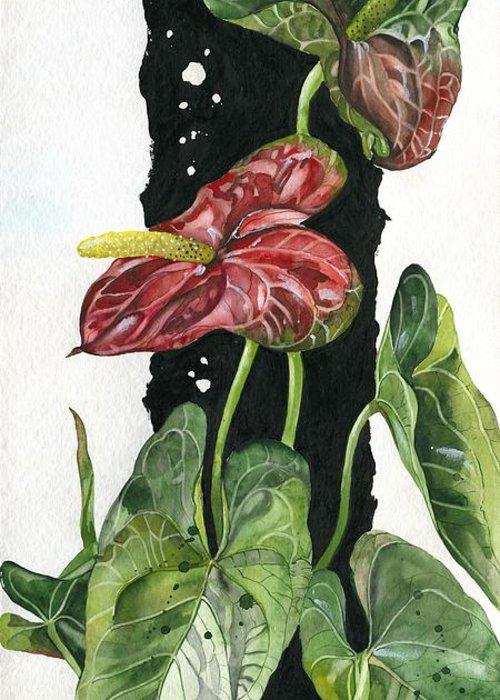 Andraeanum Greeting Card featuring the painting Flower Anthurium 01 Elena Yakubovich by Elena Yakubovich