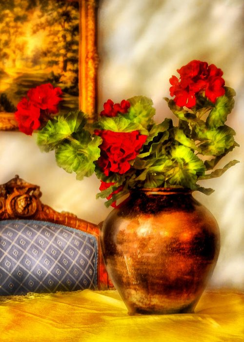 Savad Greeting Card featuring the photograph Flower - Geraniums On A Table by Mike Savad