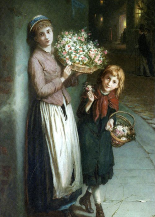 Augustus Edwin Mulready Greeting Card featuring the digital art Flower Girls A Summer Night by Augustus Edwin Mulready