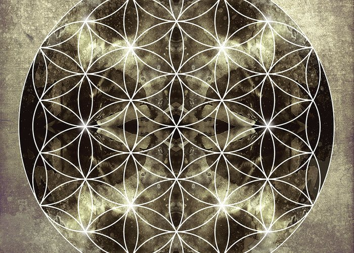Mandala Greeting Card featuring the digital art Flower Of Life Silver by Filippo B
