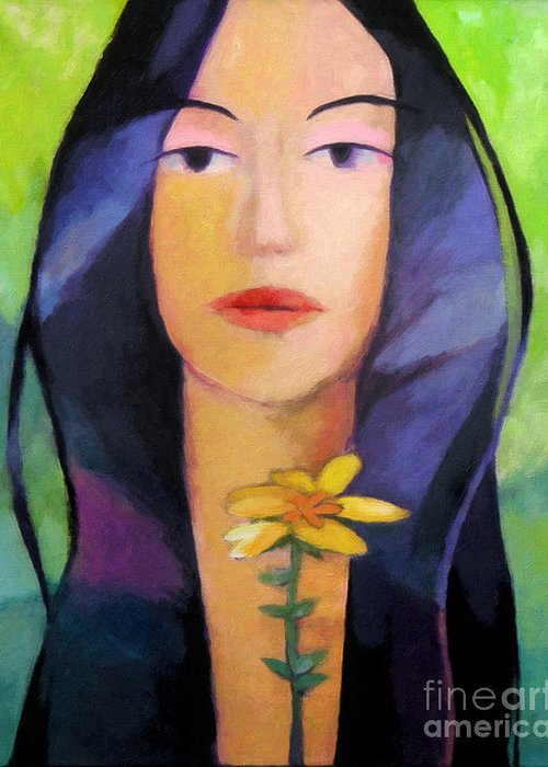 Woman Painting Greeting Card featuring the painting Flower Woman by Lutz Baar