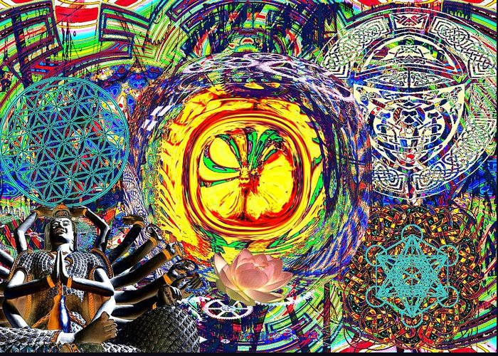 <a> Abstract Greeting Card featuring the digital art Flowering Shiva by Jason Saunders