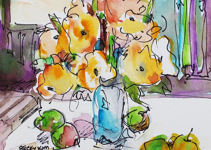 Flowers Greeting Card featuring the painting Flowers And Green Apples by Becky Kim