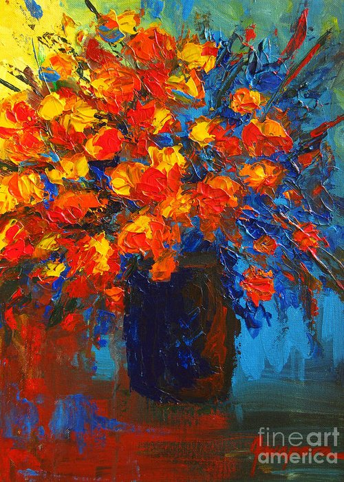 Flower Greeting Card featuring the painting Flowers Are Always Welcome IIi by Patricia Awapara