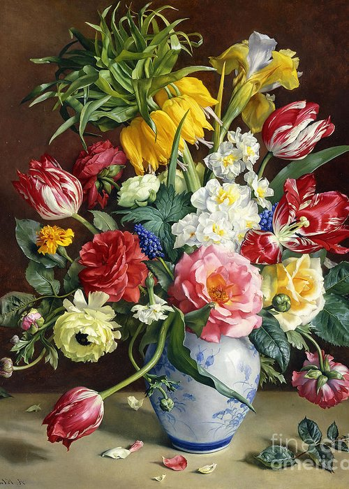 19th Century Painting Greeting Card featuring the painting Flowers In A Blue And White Vase by R Klausner
