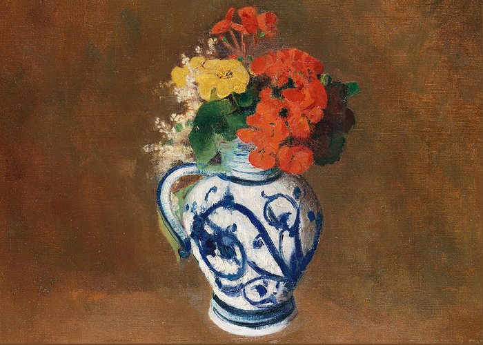 Still Life; Jug; Redon Greeting Card featuring the painting Flowers In A Blue Vase by Odilon Redon