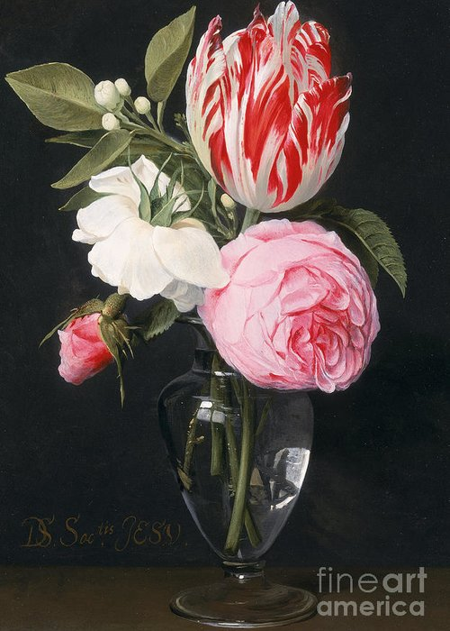 Rose Greeting Card featuring the painting Flowers In A Glass Vase by Daniel Seghers