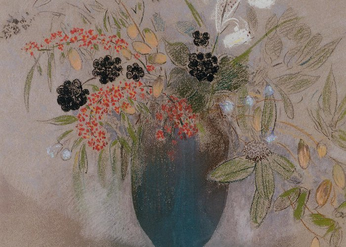Still Life; Flower Greeting Card featuring the painting Flowers In A Vase by Odilon Redon