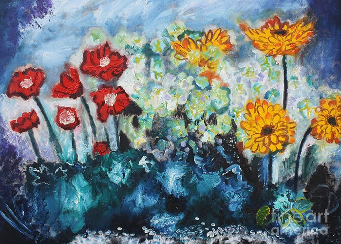 Oil Greeting Card featuring the painting Flowers Through The Storm by Michael Kulick