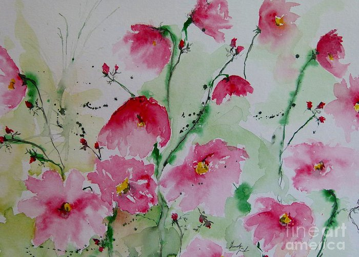 Flowers Greeting Card featuring the painting Flowers - Watercolor Painting by Ismeta Gruenwald