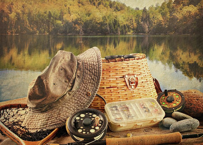 Activity Greeting Card featuring the photograph Fly Fishing Equipment With Vintage Look by Sandra Cunningham
