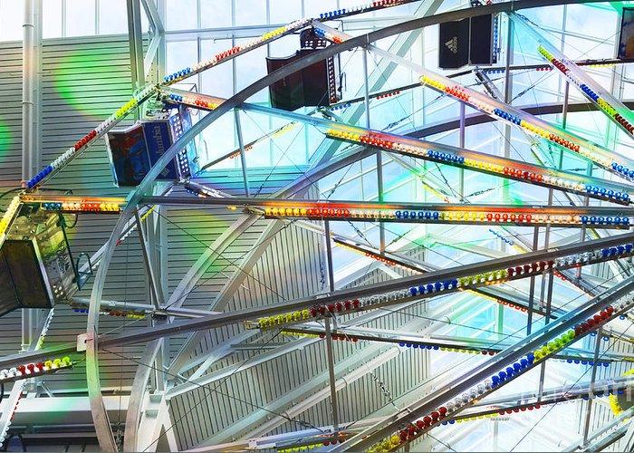 Flying Inside Ferris Wheel Greeting Card featuring the photograph Flying Inside Ferris Wheel by Luther  Fine Art