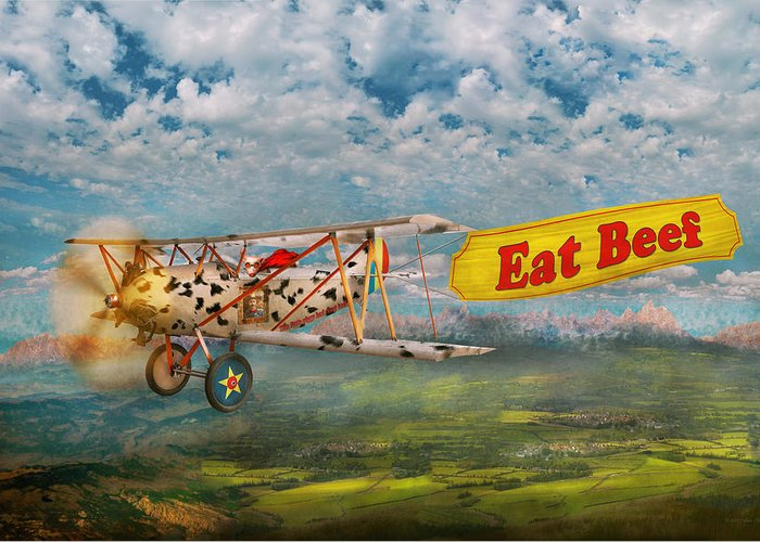 Self Greeting Card featuring the digital art Flying Pigs - Plane - Eat Beef by Mike Savad