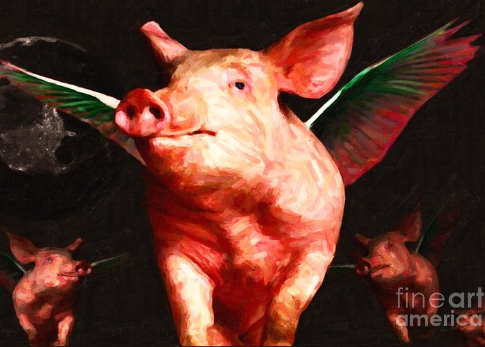Animal Greeting Card featuring the photograph Flying Pigs V2 by Wingsdomain Art and Photography