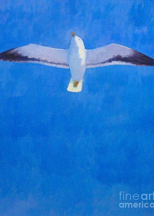 Freedom Greeting Card featuring the painting Flying Seagull by Lutz Baar