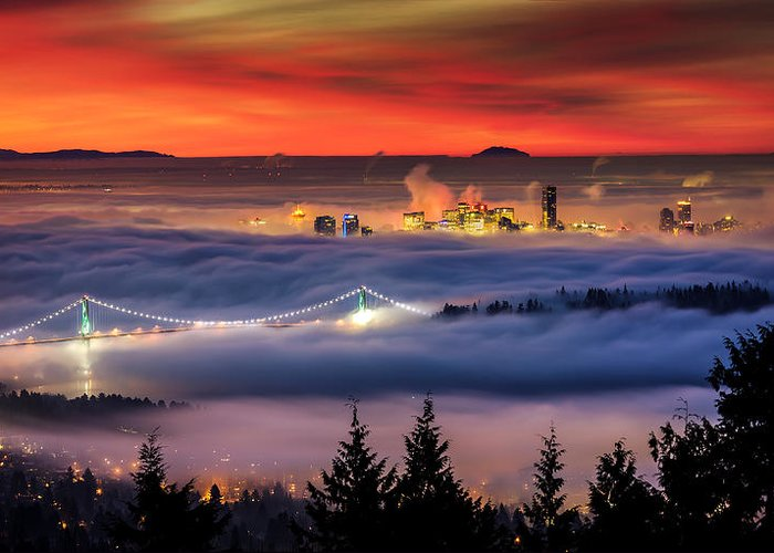 Skylines Greeting Card featuring the photograph Fog Inversion Over Vancouver by Alexis Birkill