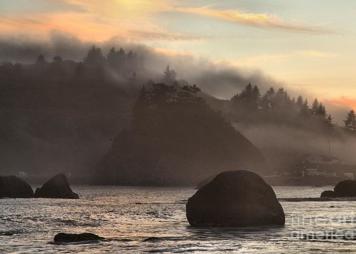 Trinidad State Beach Greeting Card featuring the photograph Fog Over Trinidad by Adam Jewell
