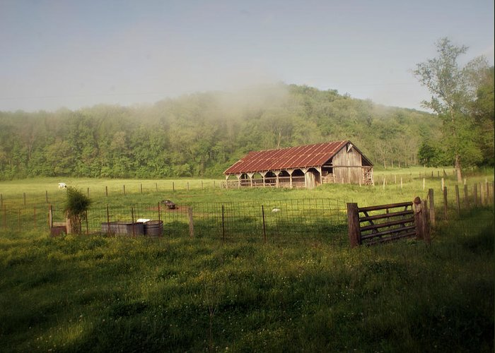 Barn Greeting Card featuring the photograph Foggy Barn by Marty Koch