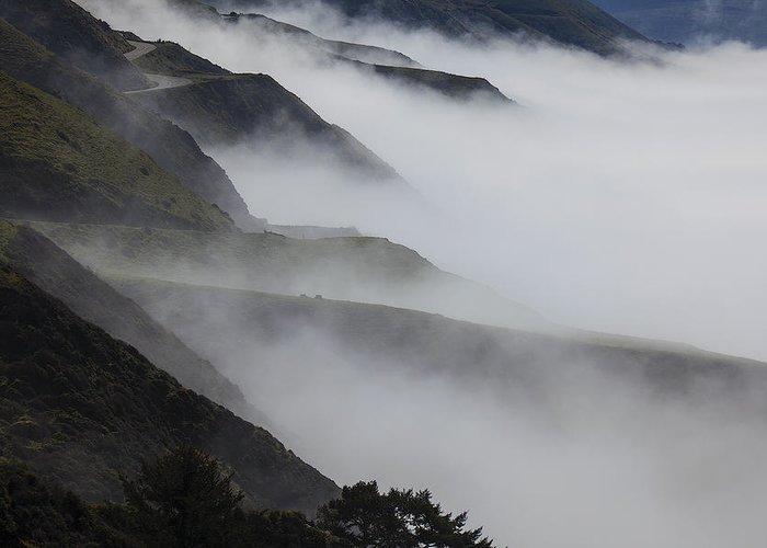 Foggy Greeting Card featuring the photograph Foggy Coastal Hills by Garry Gay