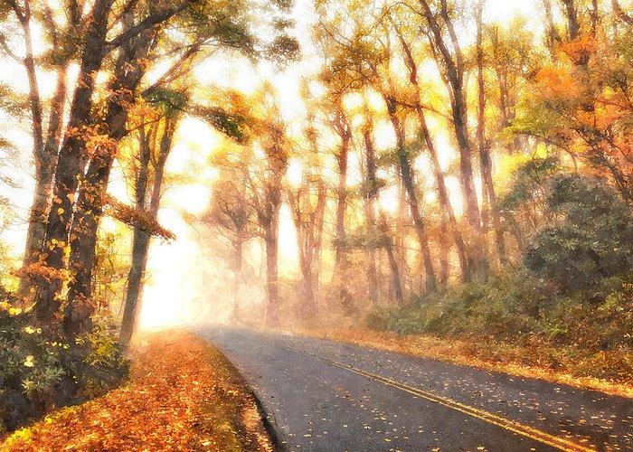 Blue Ridge Parkway Greeting Card featuring the painting Foggy Fall Wonderland - Blue Ridge Parkway II by Dan Carmichael