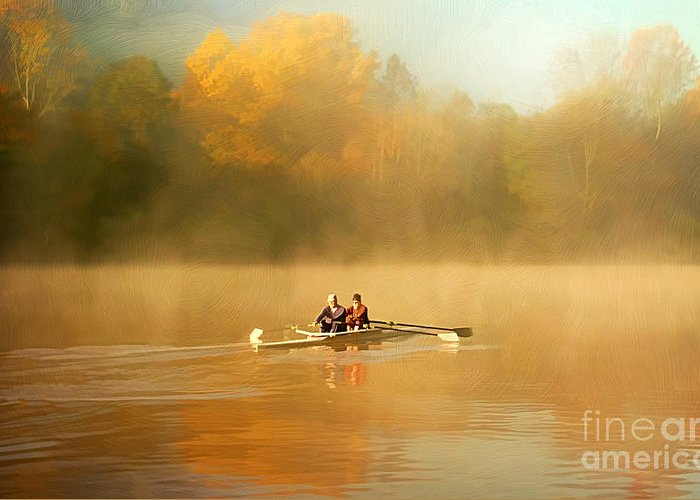 Activity Greeting Card featuring the photograph Foggy Morning On The Chattahoochee by Darren Fisher