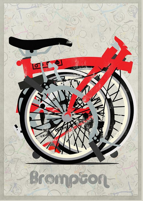 Bike Greeting Card featuring the digital art Folded Brompton Bike by Andy Scullion