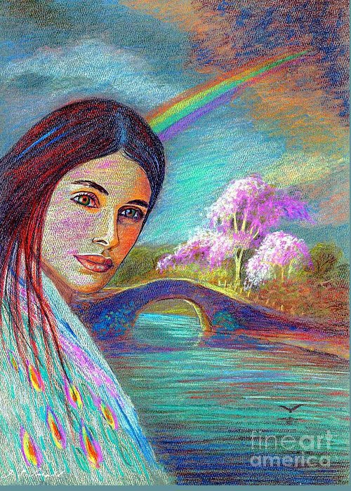 Rainbow Greeting Card featuring the painting Following The Rainbow by Jane Small