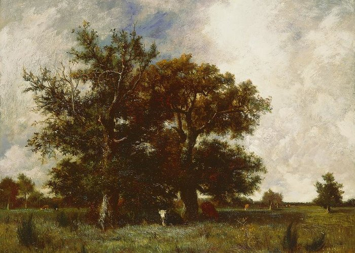 Tree Greeting Card featuring the painting Fontainebleau Oak by Jules Dupre