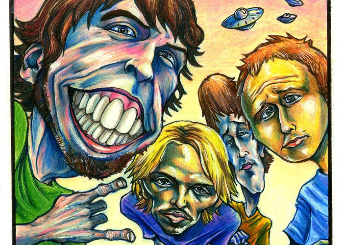 Foo Fighters Greeting Card featuring the drawing Foo Fighters by John Ashton Golden