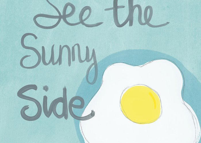 Egg Greeting Card featuring the painting Food- Kitchen Art- Eggs- Sunny Side Up by Linda Woods