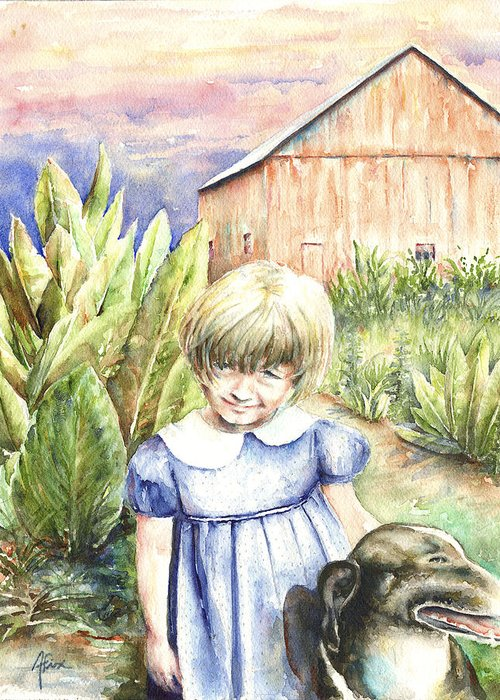 Watercolor Greeting Card featuring the painting Forbes Road Farm by Arthur Fix
