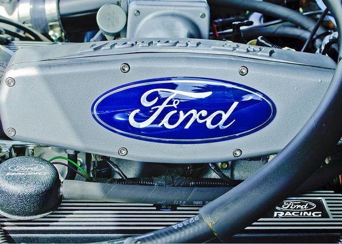 Ford Engine Emblem Greeting Card featuring the photograph Ford Engine Emblem by Jill Reger
