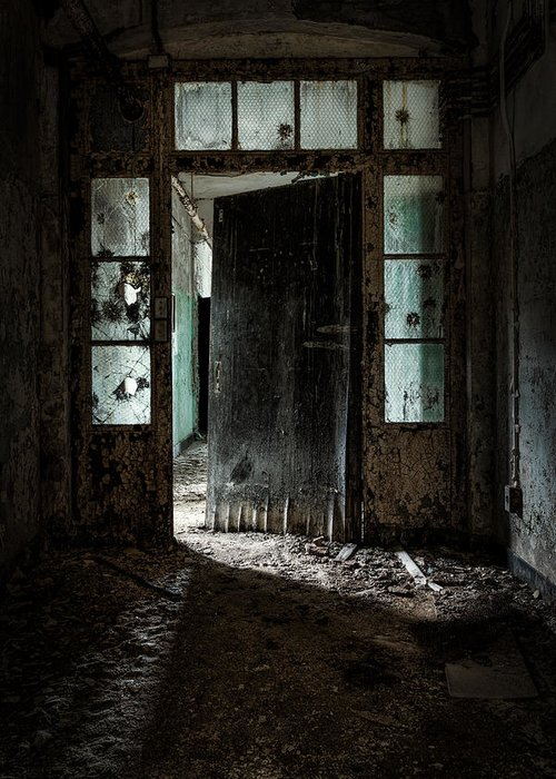 Doors Greeting Card featuring the photograph Foreboding Doorway by Gary Heller