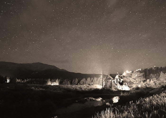 Chapel On The Rock Greeting Card featuring the photograph Forest Of Stars Above The Chapel On The Rock Sepia by James BO Insogna