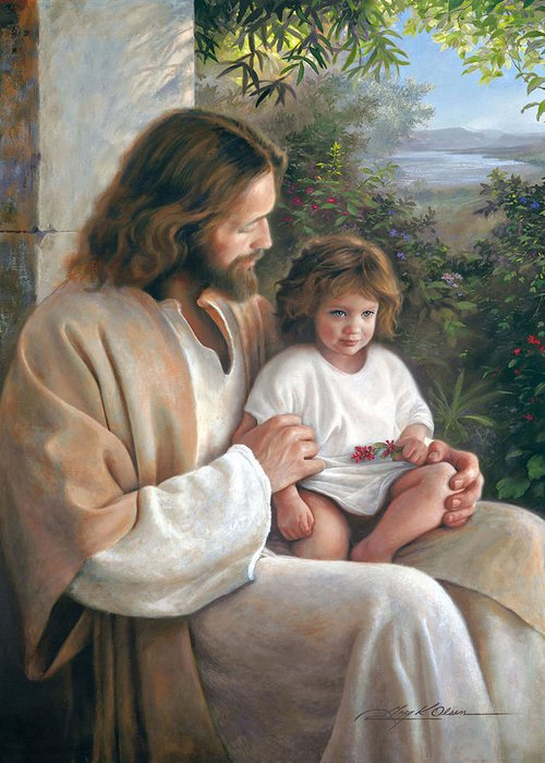 Jesus Greeting Card featuring the painting Forever And Ever by Greg Olsen