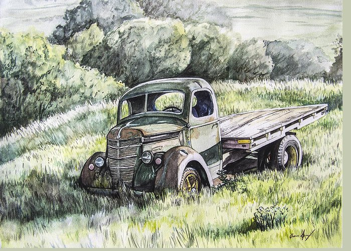 Truck Greeting Card featuring the painting Forgotten by Aaron Spong