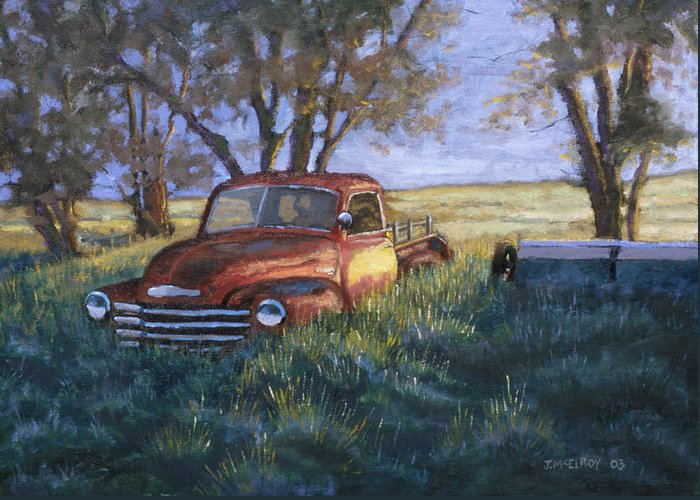 Pickup Truck Greeting Card featuring the painting Forgotten But Still Good by Jerry McElroy
