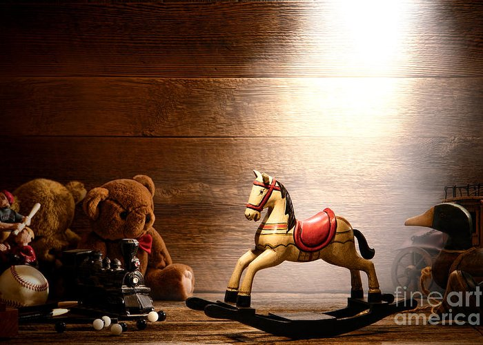 Forgotten Greeting Card featuring the photograph Forgotten Toys by Olivier Le Queinec