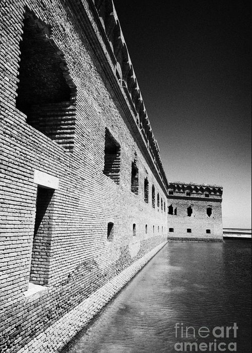 Fort Greeting Card featuring the photograph Fort Jefferson Brick Walls With Moat Dry Tortugas National Park Florida Keys Usa by Joe Fox