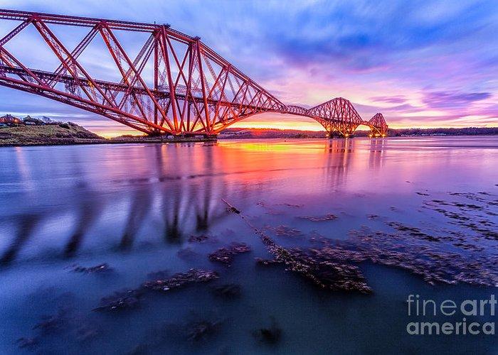 Architecture Greeting Card featuring the photograph Forth Rail Bridge Stunning Sunrise by John Farnan