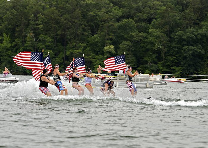 Fourth Greeting Card featuring the photograph Fourth Of July On The Lake by Susan Leggett