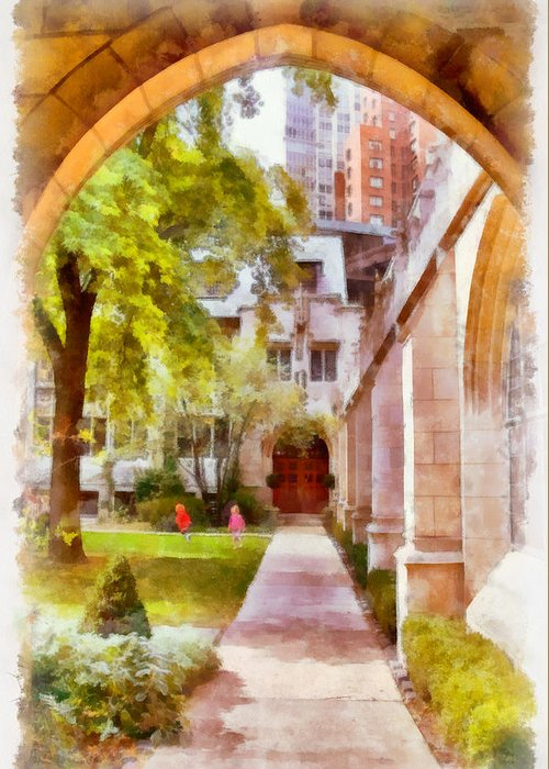 Churchyard Greeting Card featuring the painting Fourth Presbyterian - A Chicago Sanctuary by Christine Till