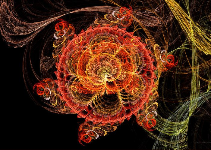 Abstract Greeting Card featuring the digital art Fractal - Abstract - Mardi Gras Molecule by Mike Savad