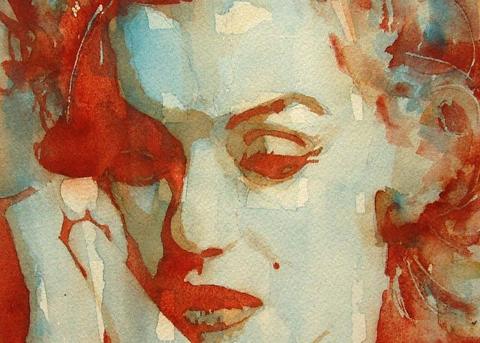 Marilyn Monroe Greeting Card featuring the painting Fragile by Paul Lovering