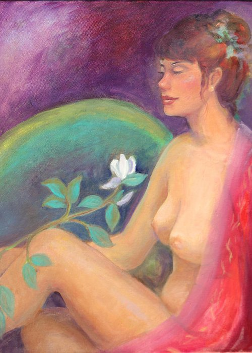 Figure Pose Greeting Card featuring the painting Fragrance Of A Dream by Gwen Carroll